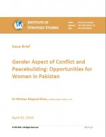 Gender Aspect of Conflict and Peacebuilding: Opportunities for Women in Pakistan