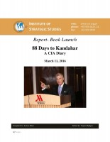 Report- Book Launch 88 Days to Kandahar: A CIA Diary