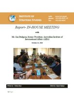Report- IN-HOUSE MEETING with Mr. Ian Dudgeon, former President, AIIA