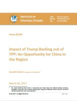 Issue Brief on Impact of Trump Backing out of TPP: An Opportunity for China in the Region