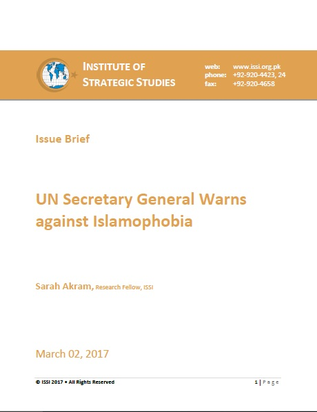 Issue Brief on UN Secretary General Warns against Islamophobia
