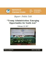 "Report - Public Talk on ""Trump Administration: Emerging Opportunities for South Asia"""