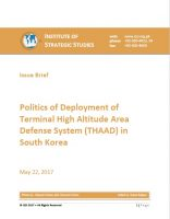 Issue Brief on Politics of Deployment of Terminal High Altitude Area Defense System (THAAD) in South Korea