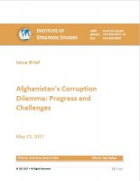 Issue Brief on Afghanistans Corruption Dilemma: Progress and Challenges