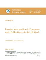 Issue Brief on Russian Intervention in European and US Elections: An Act of War?