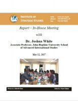 Report – In-House Meeting with Dr. Joshua White