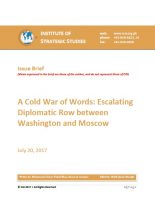 Issue Brief on A Cold War of Words: Escalating Diplomatic Row between Washington and Moscow