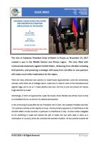 Issue Brief on Growing Sudan-Russia Relations and Prospective Strategic Implications in the Region